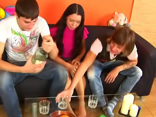 Two guys ride herd on attractive hot teen on touching all inviting holes